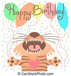 Cute happy birthday card with funny tiger. Vector...