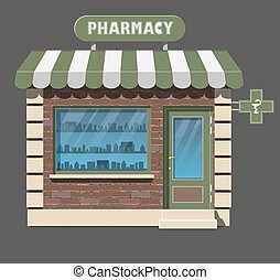 pharmacy drugstore icon - Vector flat style illustration of...
