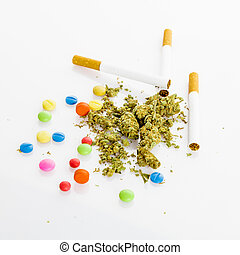 illegal drugs. Narcotic drugs. Marihuana, drugs, pills,...