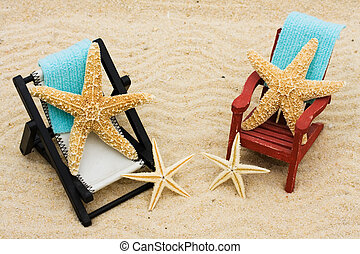 Relaxing on Vacation - A lounge chair with starfish on a...