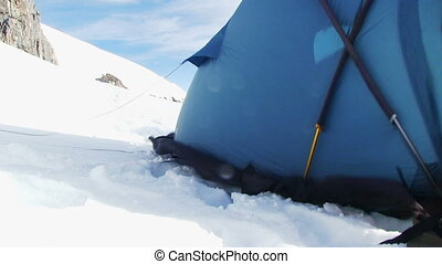 Climbers Tent In High Mountains.