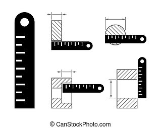 ruler and methods of measurement - Black icon ruler and...
