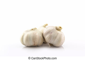 Fresh garlic bulb. - Fresh garlic bulb on white background....