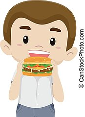 Boy Eating his Hamburger