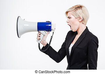 Businesswoman screaming into megaphone isolated on a white...