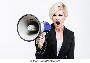 Businesswoman shouting into loudspeaker isolated on a white...