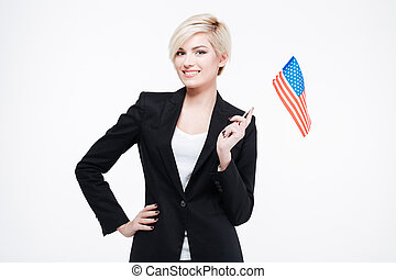 Happy businesswoman holding USA flag isolated on a white...