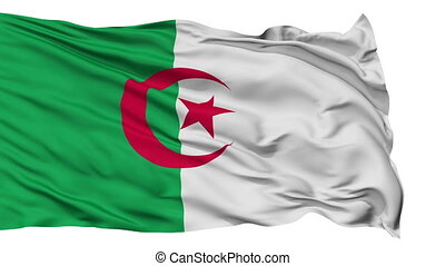Isolated Waving National Flag of Algeria - Algeria Flag...