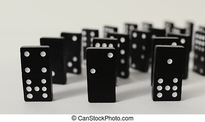 a tragic chain of events. Domino effect. Slowmotion