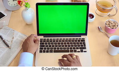 Man using laptop green screen - Businessman using laptop...
