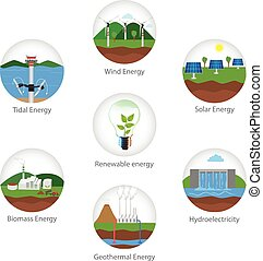 Renewable energy types. Power plant icons vector set....