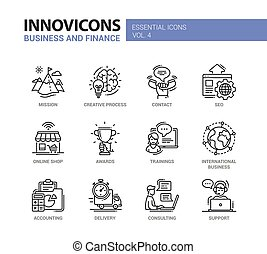 Office, business modern thin line design icons and...