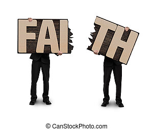 Men holding two cracked FAITH word wooden boards. - Men...