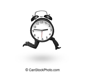Alarm clock with human legs running, isolated on white...