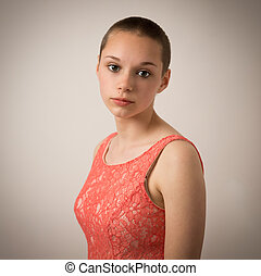 Beautiful Young Teenage Girl With Shaven Head - Studio...