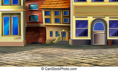 Old Town Street - Digital painting of the corner of the old...