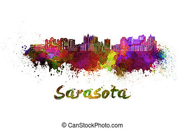 Sarasota skyline in watercolor splatters with clipping path