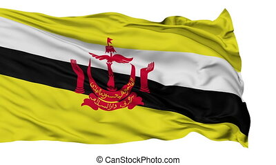 Isolated Waving National Flag of Brunei - Brunei Flag...