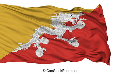 Isolated Waving National Flag of Bhutan