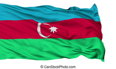 Isolated Waving National Flag of Azerbaijan