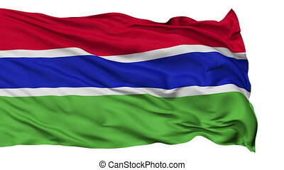Isolated Waving National Flag of Gambia