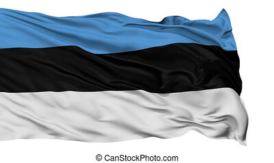 Isolated Waving National Flag of Estonia