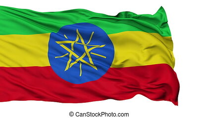 Isolated Waving National Flag of Ethiopia