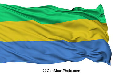 Isolated Waving National Flag of Gabon