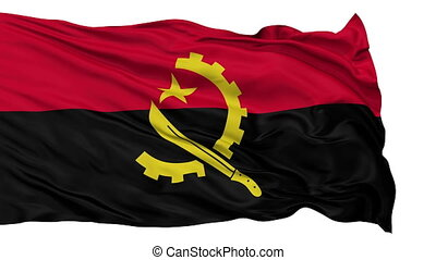 Isolated Waving National Flag of Angola