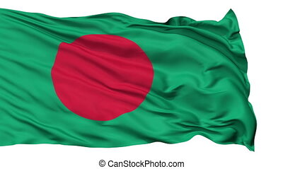 Isolated Waving National Flag of Bangladesh