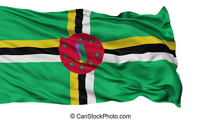 Isolated Waving National Flag of Dominica