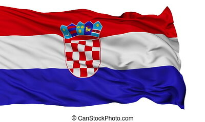Isolated Waving National Flag of Croatia