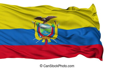 Isolated Waving National Flag of Ecuador - Ecuador Flag...