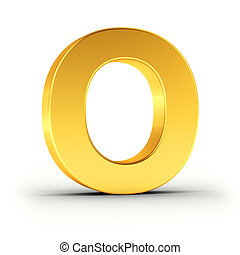 The letter O as a polished golden object with clipping path