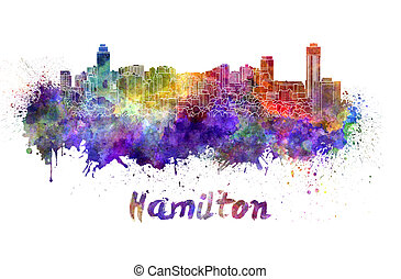 Hamilton skyline in watercolor splatters with clipping path