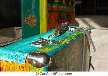 明亮, 上色, retro, 小提箱, 為, 旅行,