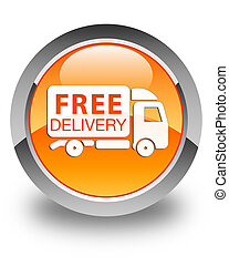 Free delivery truck icon glossy orange round button