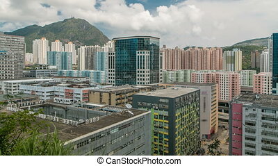 Top view of buildings at day in finance urban timelapse, hong kong city