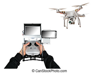 Man hands handling drone on white background - Man hands...