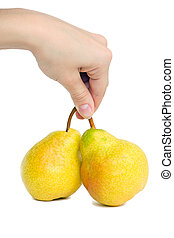 hand and two pear