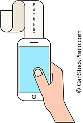outline smartphone and payment lettering on paycheck....