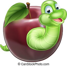 Worm and Apple - A happy smiling cute green cartoon...