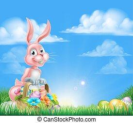 Cartoon Pink Easter Bunny Egg Basket
