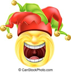 Laughing Jester Emoticon Emoji - A jester cartoon emotion...