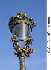 An old-fashioned lantern with quot;love locksquot; - An...