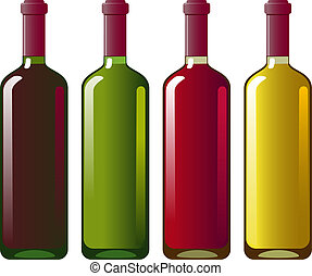 Collection of red and white wine in green and white bottles....