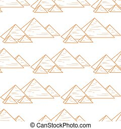 seamless orande pyramids - pyramids repeated isolated on...