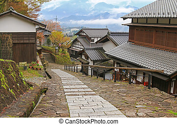 Foggy afternoon at the well preserved village in Magome -...