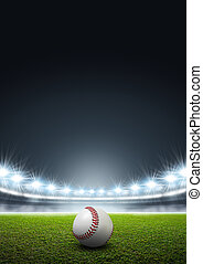 Generic Floodlit Stadium With Baseball - A generic stadium...