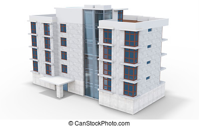 3d contemporary apartment block on a white background